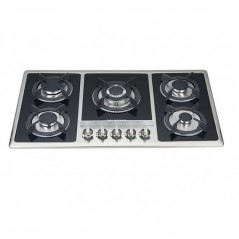 5 Burner Gas Hob-Silver Black